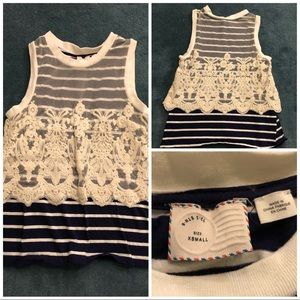 Anthropologie Nautique Striped Lace Tank